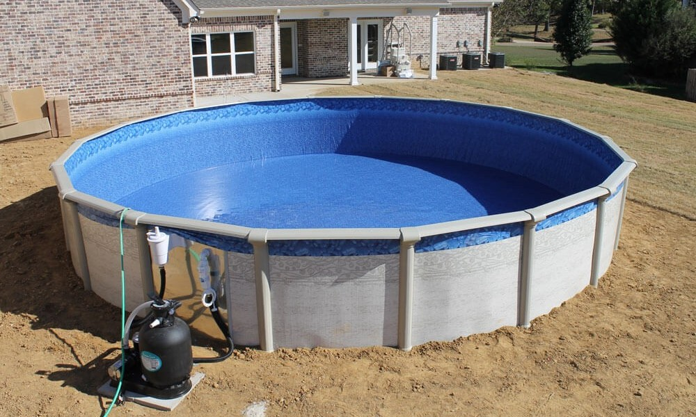what to put under above ground pool to level