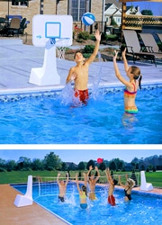 DUNNRITE POOLSPORT 2 IN 1 POOL BASKETBALL HOOP VOLLEYBALL COMBO