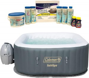 Coleman SaluSpa Portable 4 Person Outdoor Inflatable Hot Tub Spa